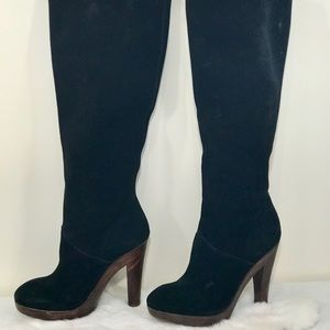 Michael Kors Daria Slouch Black Suede Boot Clog